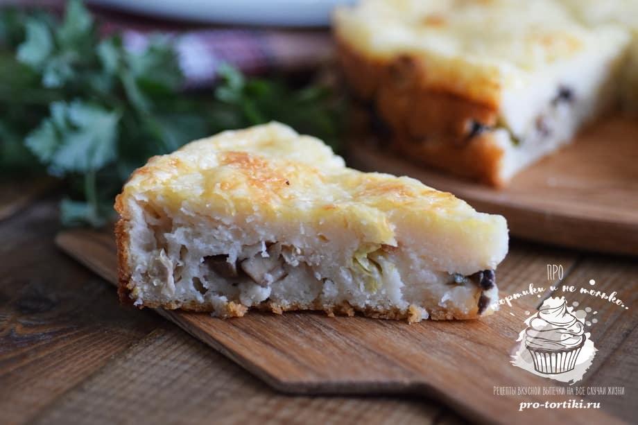Пирог с капустой и грибами