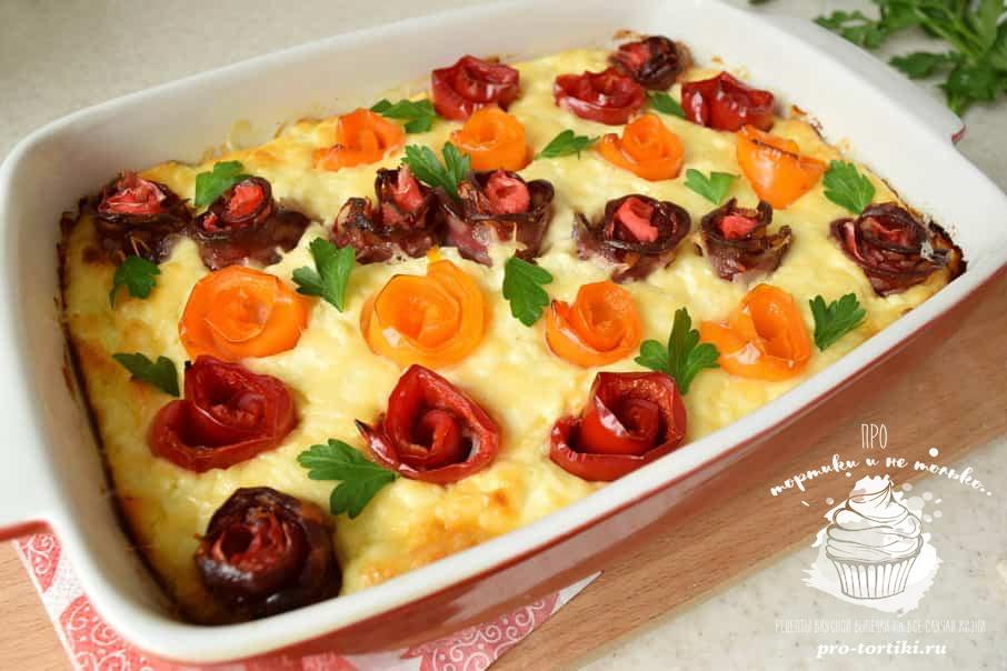 пирог из батона с колбасой и сыром
