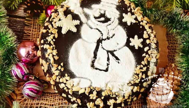 Домашний новогодний  торт » Снеговик» — вкусный рецепт с фото